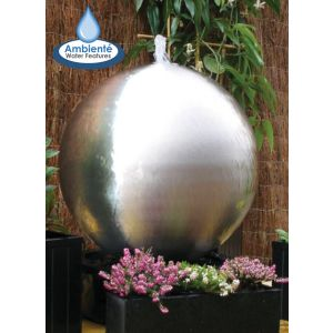 1ft7in Brushed Sphere Stainless Steel Water Feature with Lights by Ambienté
