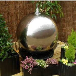 """Polished 23"""" Stainless Steel Sphere Water Fountain, LED lights"""