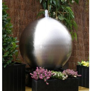11in Brushed Sphere Stainless Steel Water Feature with Lights by Ambienté