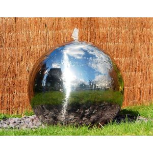 """Polished 11"""" Stainless Steel Sphere Water Fountain, LED Lights"""