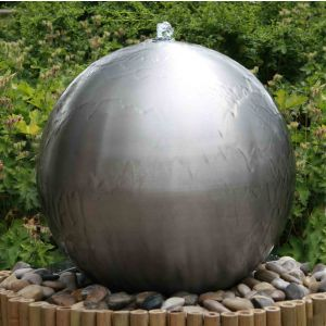 1ft 5in Brushed Sphere Stainless Steel Water Feature with Lights by Ambienté