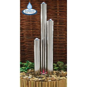 """5ft 3"""" Advanced Three Polished Tubes Water Fountain With Lights"""