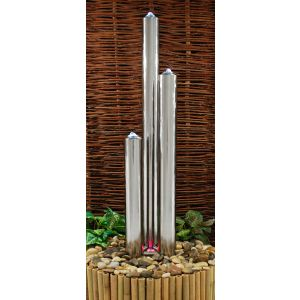 4ft Advanced Three Polished Tubes Water Fountain With Lights